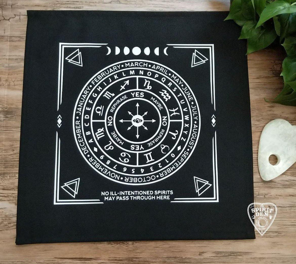 Pendulum | Divination Map | Black Cloth (White Design) - The Spirit Den