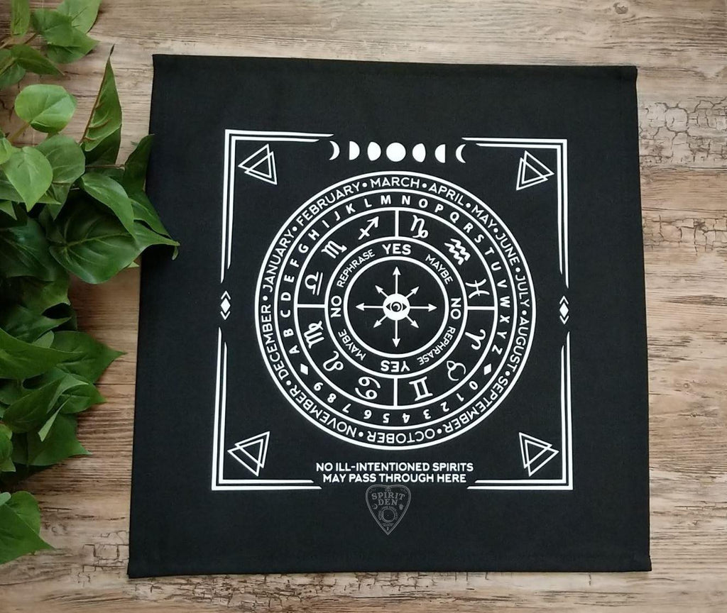 Pendulum | Divination Map | Black Cloth (White Design)