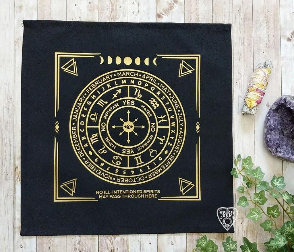 Pendulum | Divination Map | Black Cloth (Gold Design)