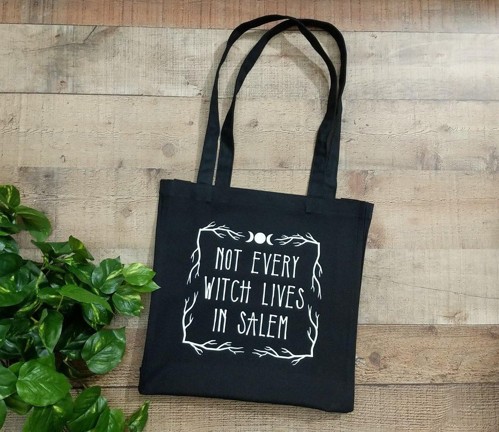 Not Every Witch Lives In Salem Black Cotton Canvas Market Tote Bag