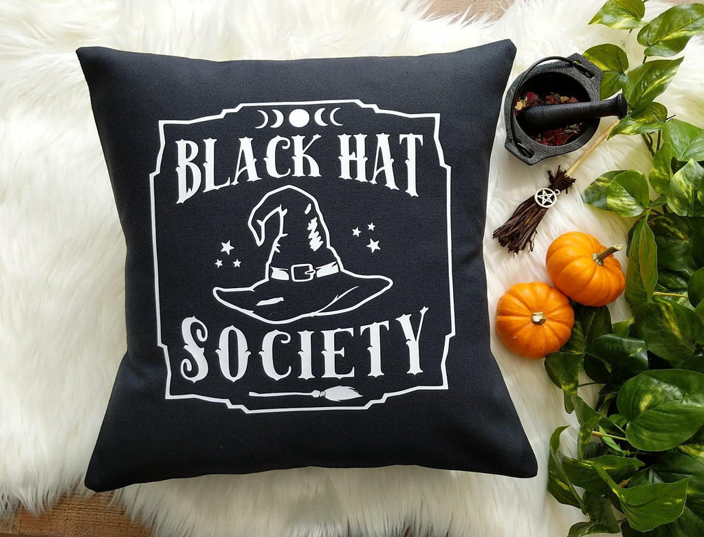 Black Hat Society Witch Hat Cotton Black Pillow | Pillow Cover
