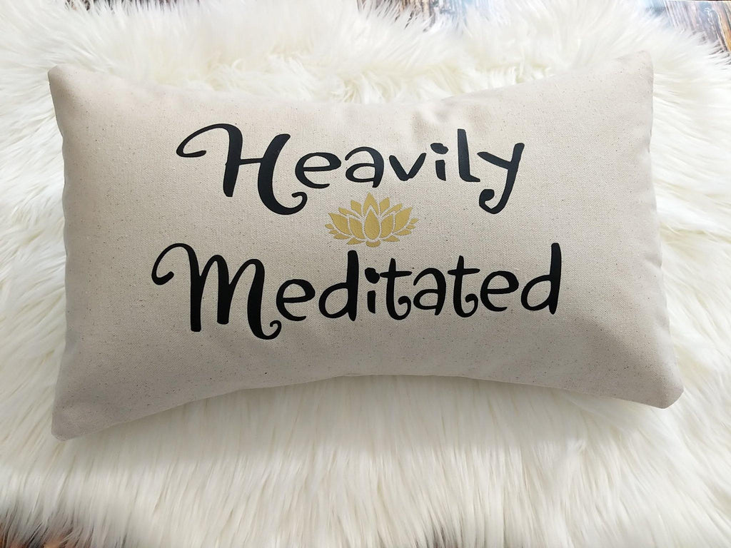 Heavily Meditated Cotton Canvas Lumbar Pillow