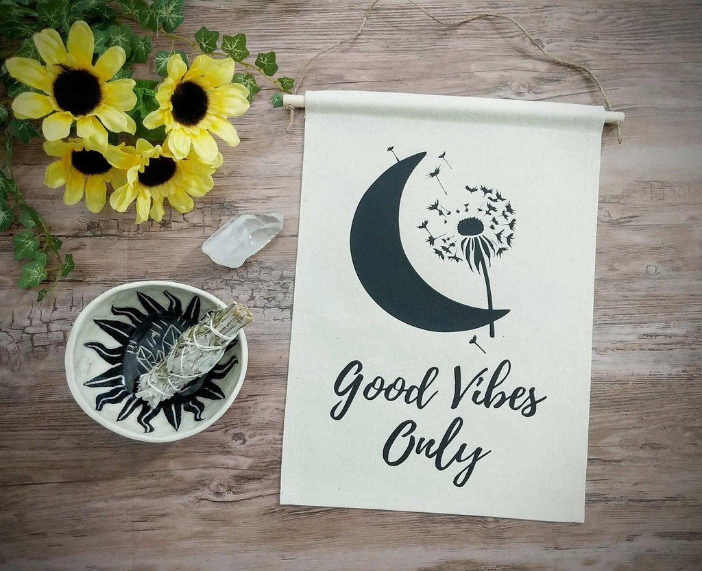 Good Vibes Only Moon Dandelion Cotton Canvas Wall Banner