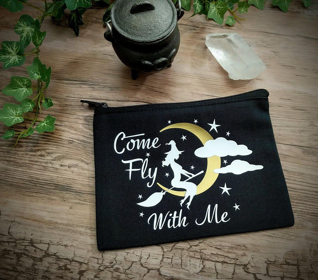 Come Fly With Me Witch Black Zipper Bag