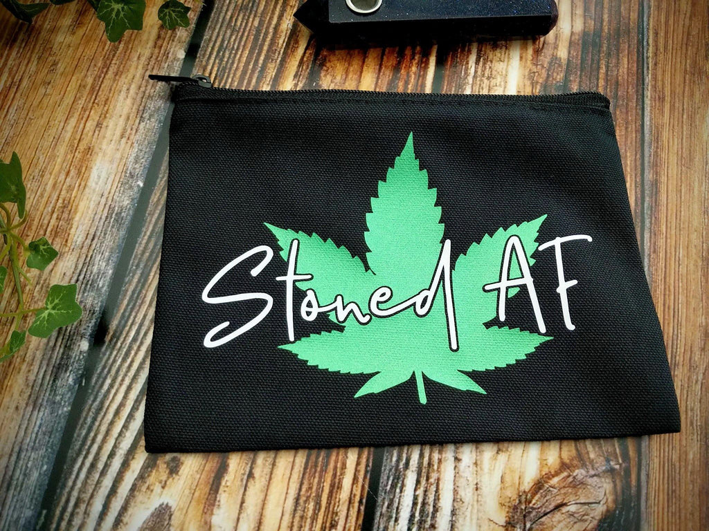 Stoned AF Pot Leaf Black Zipper Bag