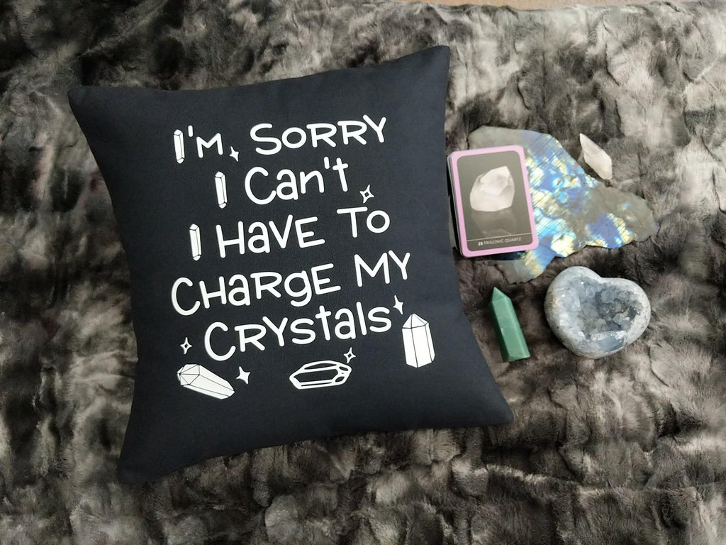 I'm Sorry I Can't I Have To Charge My Crystals Black Pillow - The Spirit Den