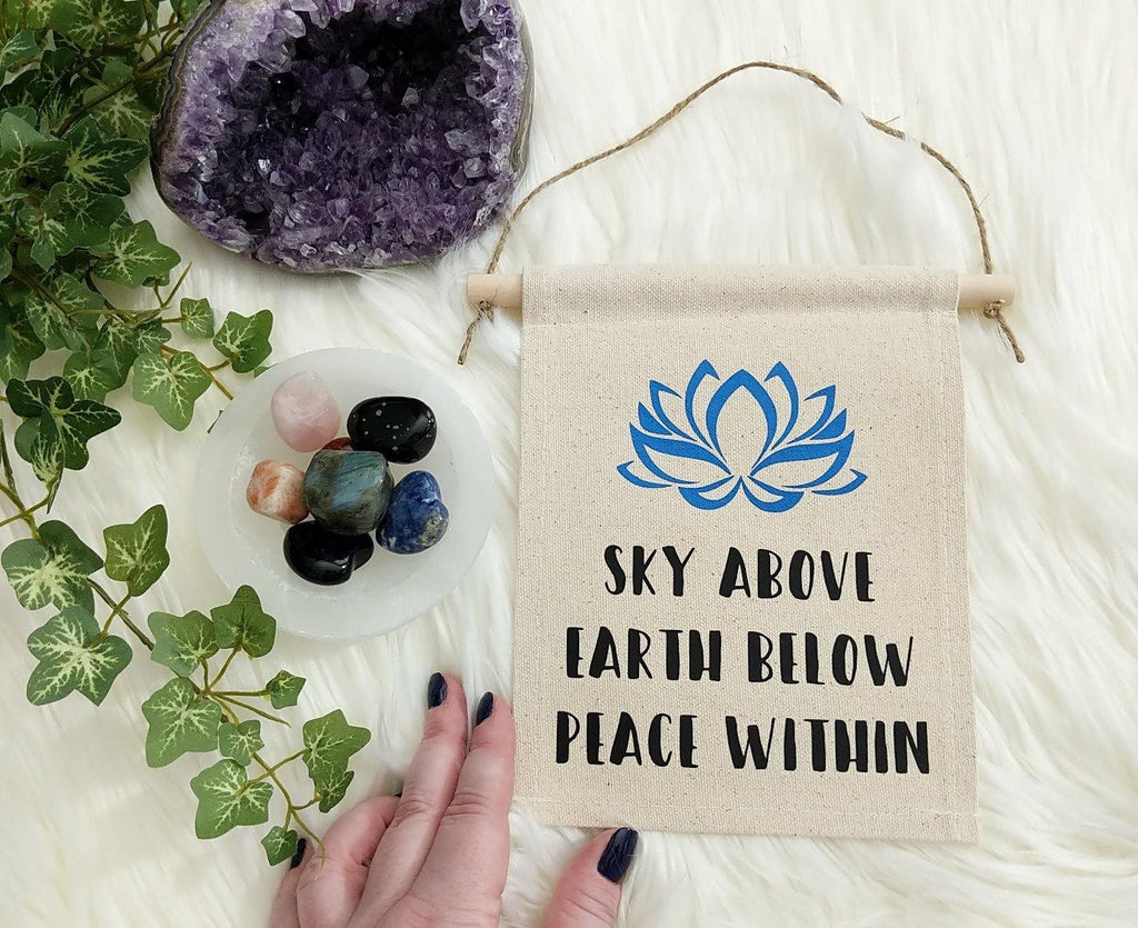 Sky Above Earth Below Peace Within Cotton Canvas Wall Banner