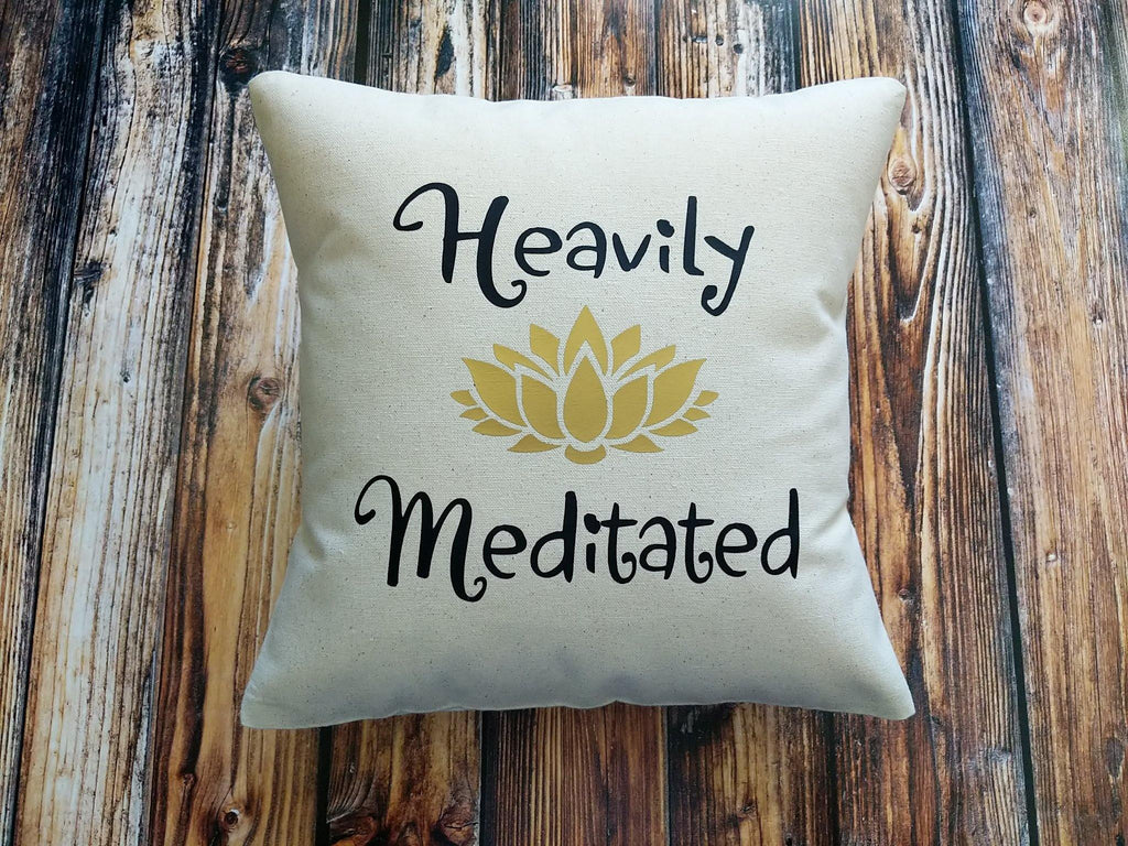 Heavily Meditated Lotus Cotton Canvas Natural Pillow