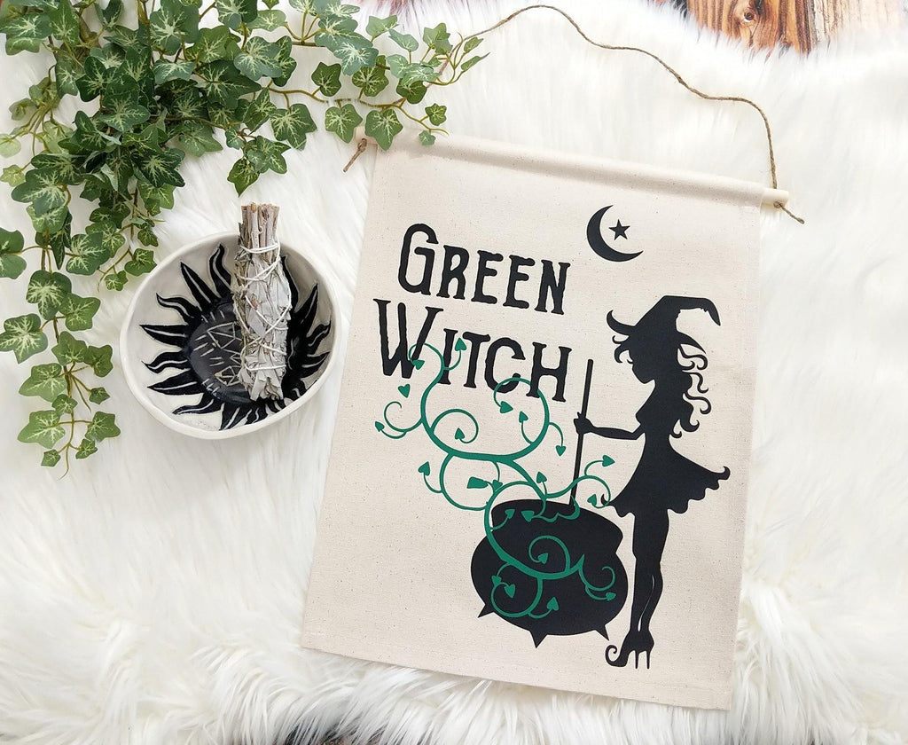 Green Witch Cotton Canvas Wall Banner