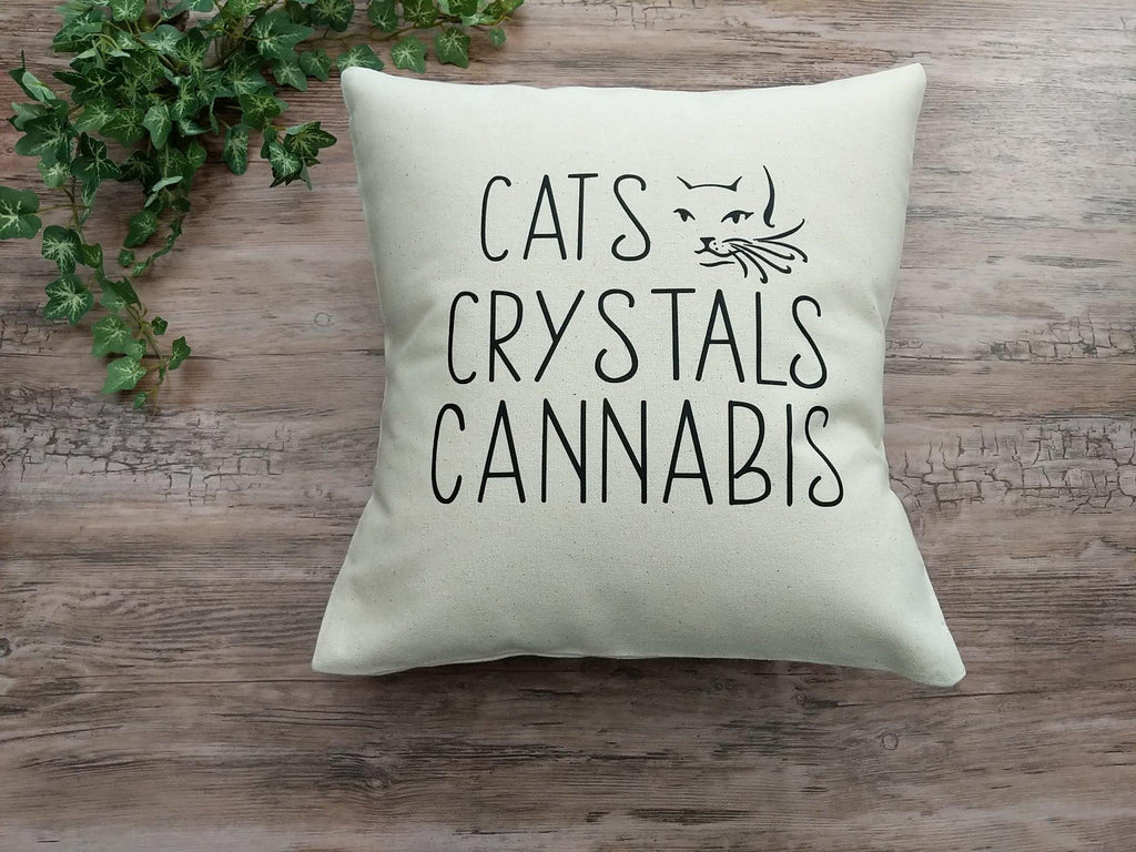 Cats Crystals Cannabis Cotton Canvas Natural Pillow