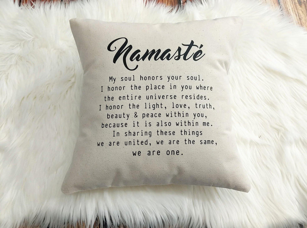 Namaste Definition Cotton Canvas Natural Pillow