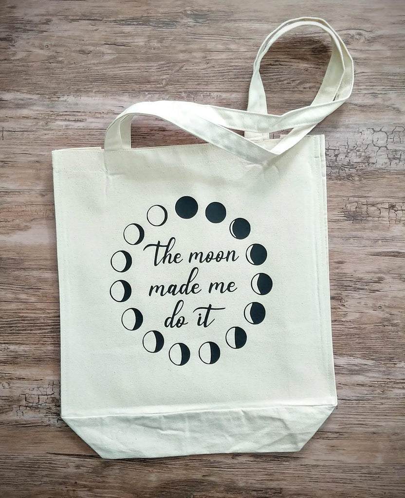 The Moon Made Me Do It Moon Phases Canvas Market Tote Bag
