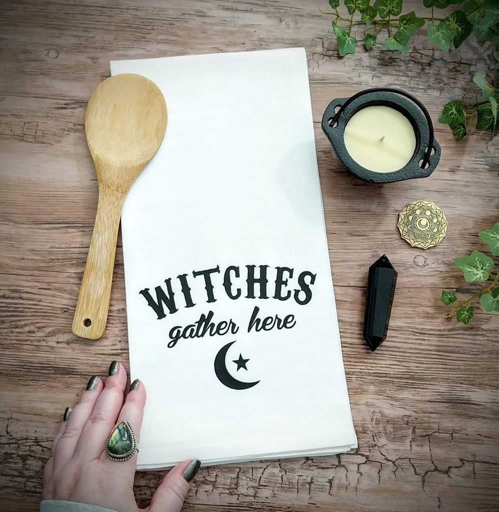 Witches Gather Here Flour Sack Towel - The Spirit Den