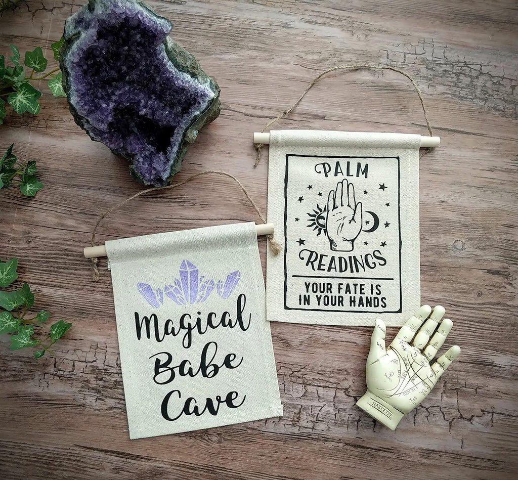 Magical Babe Cave Purple Crystals Canvas Wall Banner