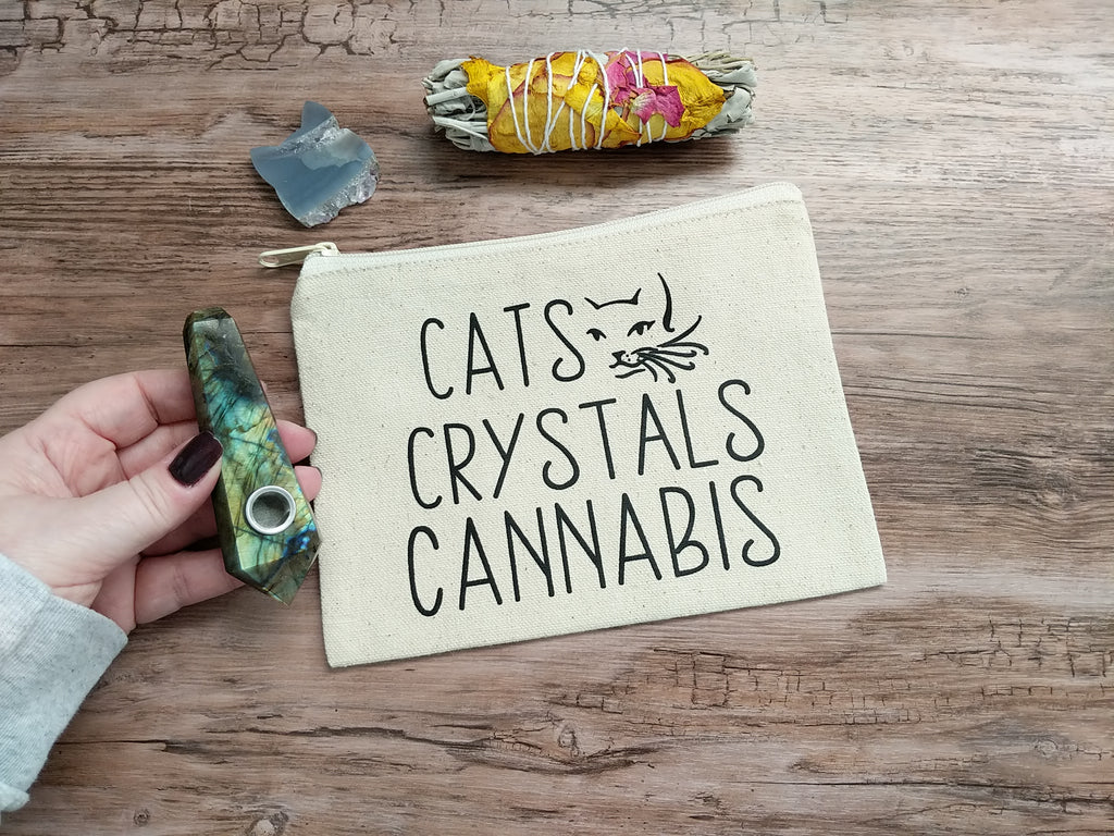 Cats Crystals Cannabis Canvas Zipper Pouch