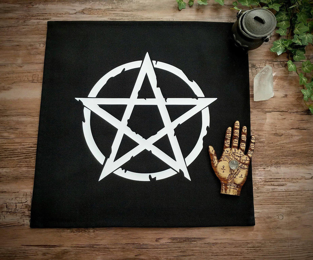 White Pentacle Altar/Tarot Cloth