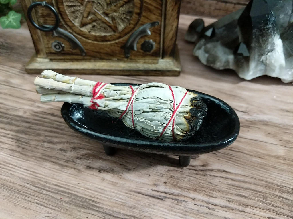 Cast Iron Canoe Smudge Pot and Incense Burner