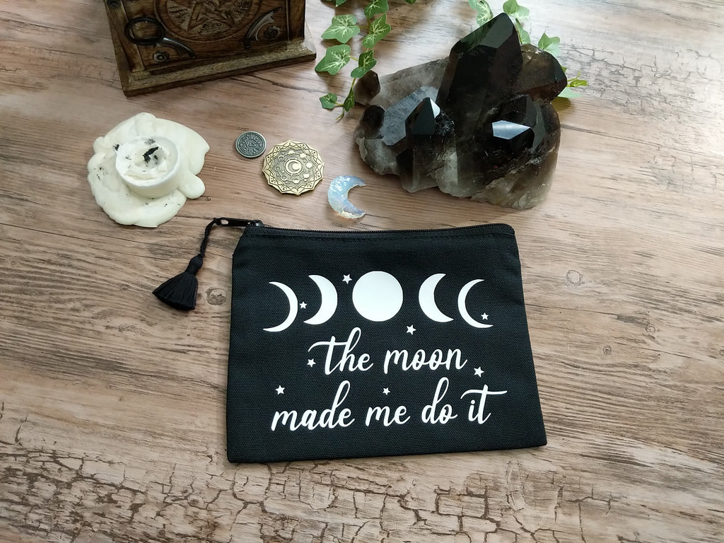 The Moon Made Me Do It Black Canvas Zipper Bag