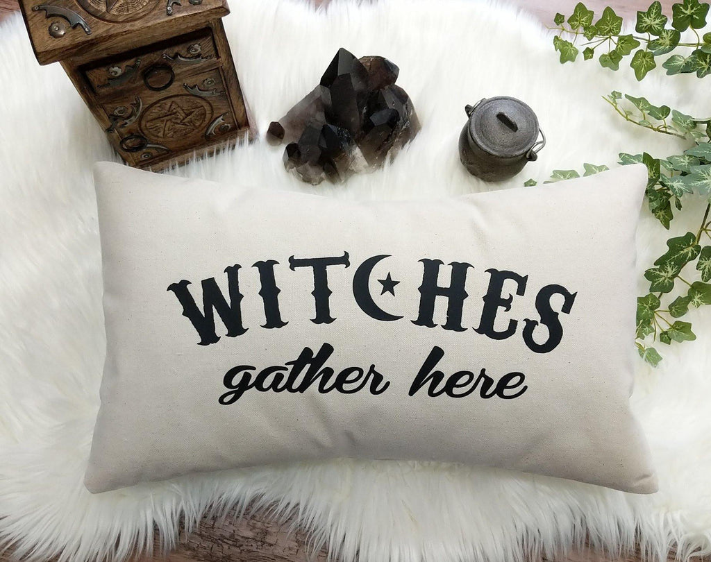 Witches Gather Here Cotton Canvas Lumbar Pillow