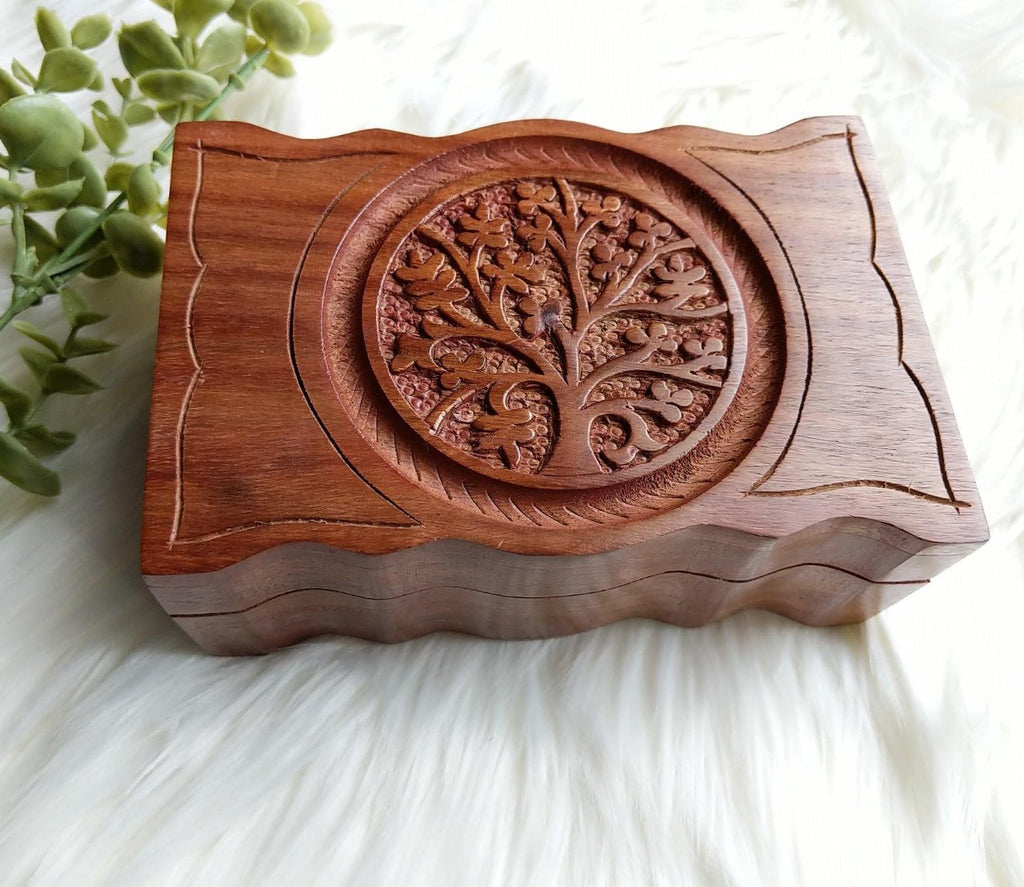Wooden Box with Hand Carved Tree of Life Symbol