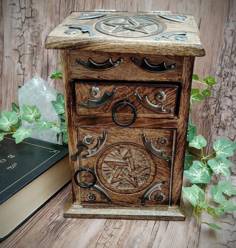Vintage Inspired Wooden Herb Chest with Pentacle Symbol