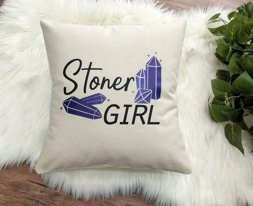 Stoner Girl Crystals Cotton Canvas Pillow
