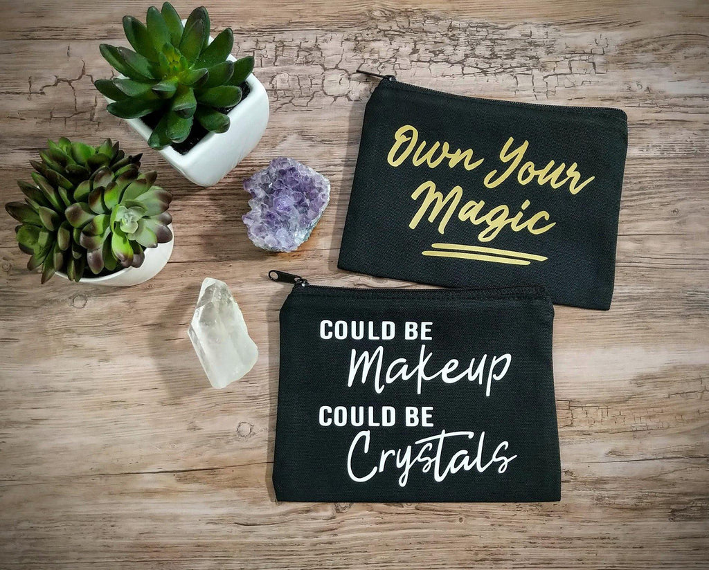Could Be Makeup Could Be Crystals Black Zipper Bag