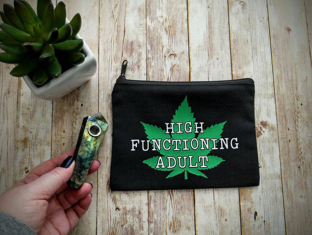 High Functioning Adult Pot Leaf Black Zipper Bag
