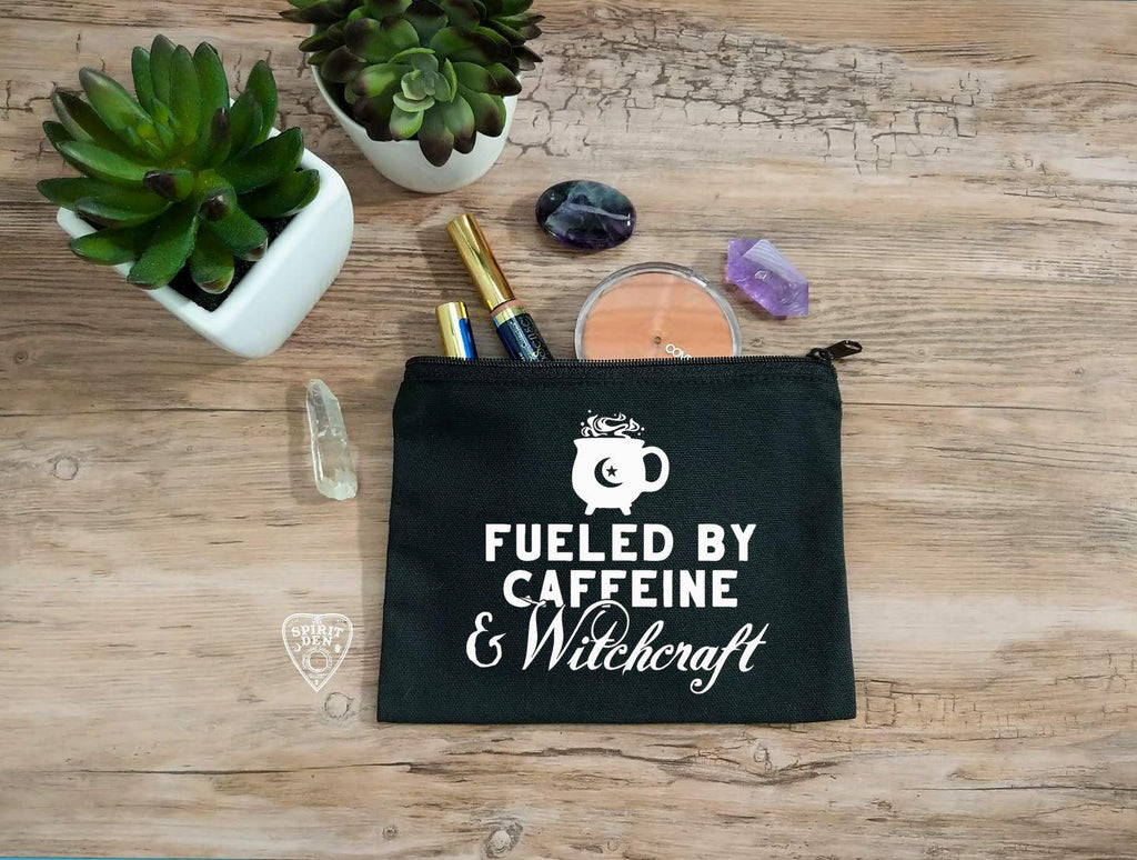 Fueled By Caffeine and Witchcraft Black Canvas Zipper Bag