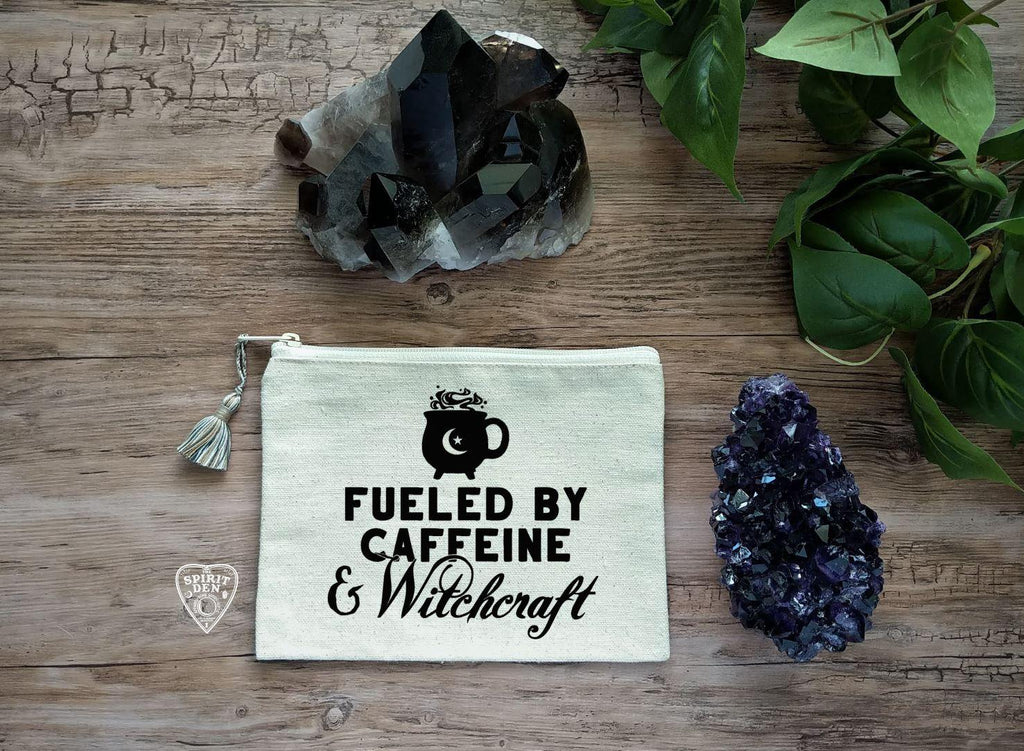 Fueled By Caffeine and Witchcraft Natural Canvas Zipper Bag - The Spirit Den