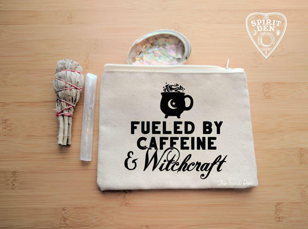 Fueled By Caffeine and Witchcraft Natural Canvas Zipper Bag