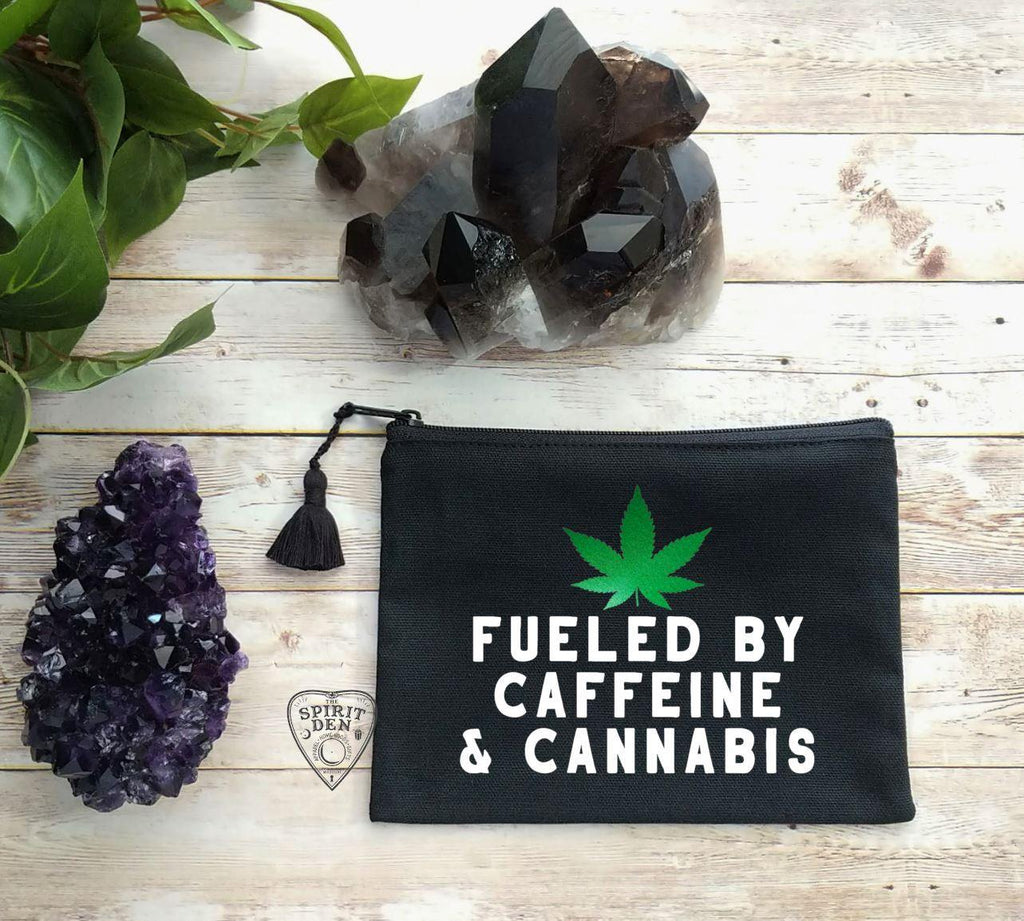 Fueled By Caffeine & Cannabis Black Canvas Zipper Bag