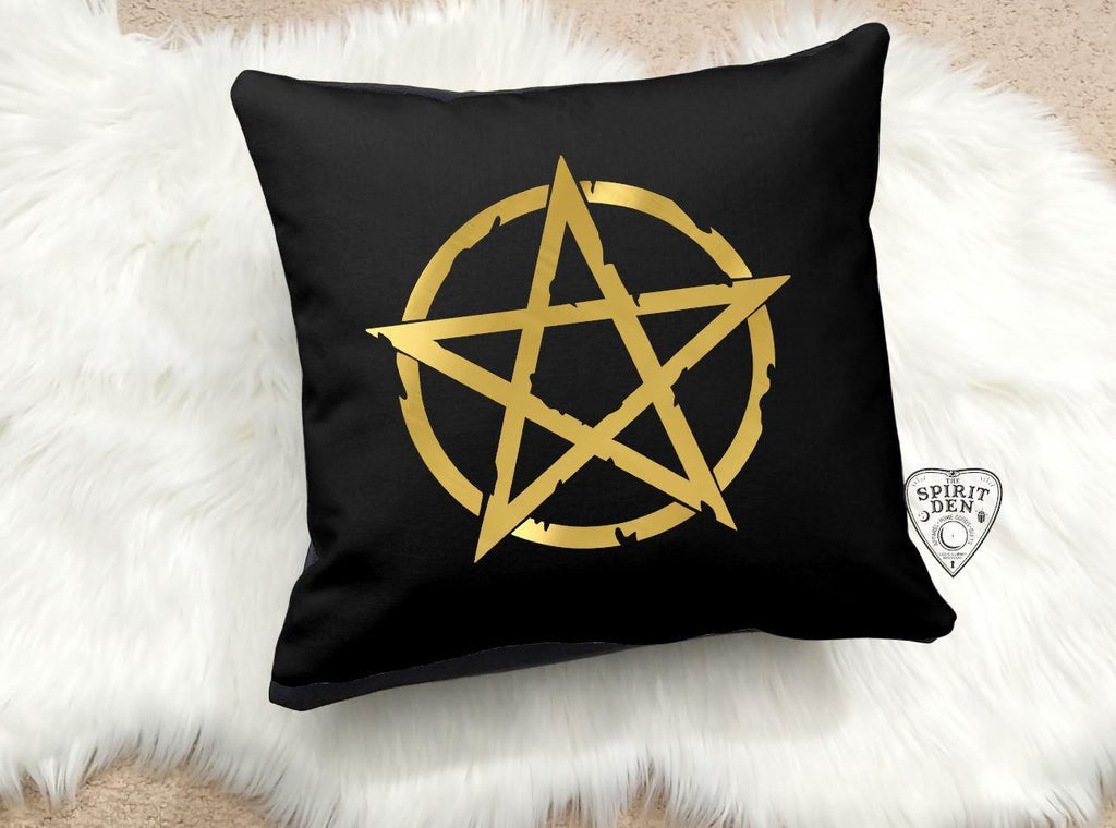Gold Pentacle Black Cotton Pillow | Pillow Cover
