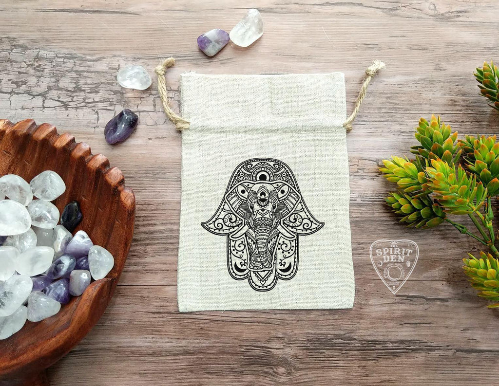 Hamsa Cotton Linen Drawstring Bag