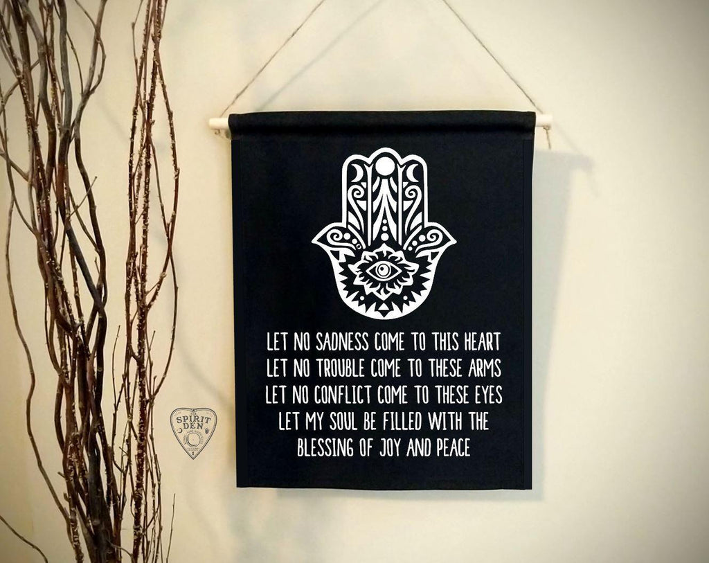 Hamsa Prayer Black Canvas Wall Banner