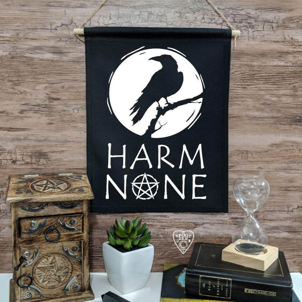 Harm None Raven Black Cotton Canvas Wall Banner