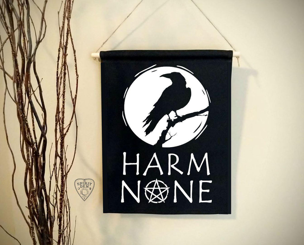 Harm None Raven Black Cotton Canvas Wall Banner - The Spirit Den
