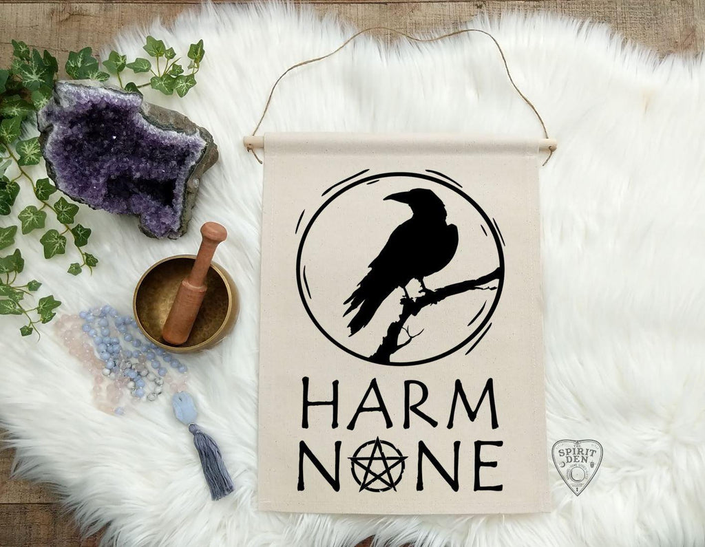 Harm None Raven Cotton Canvas Wall Banner