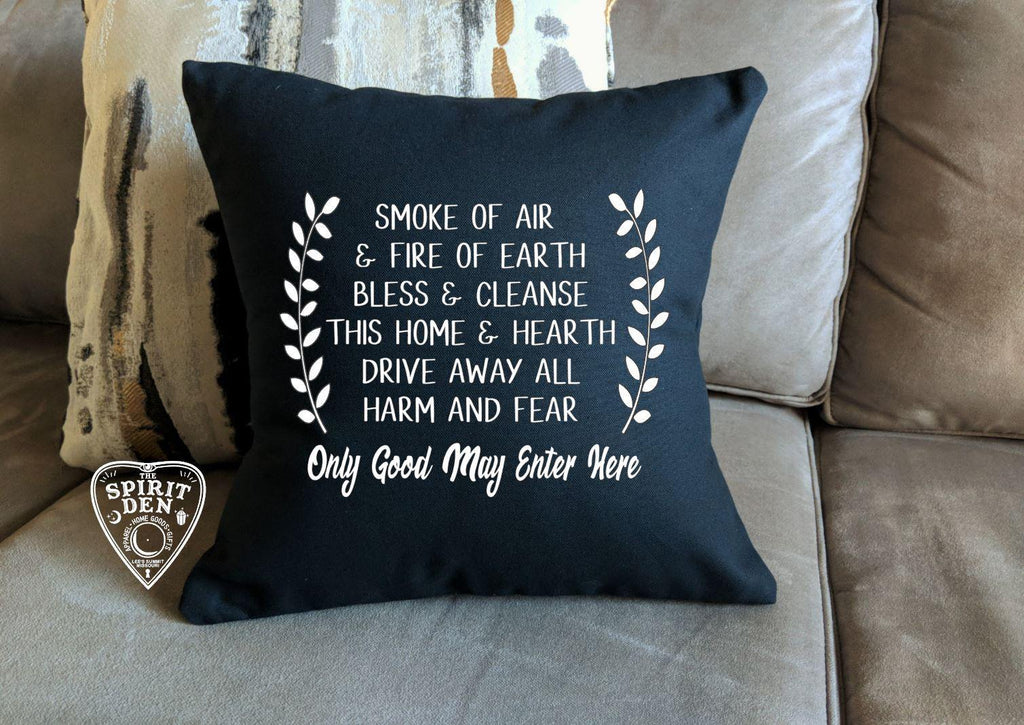 Home Blessing Only Good May Enter Here Black Cotton Pillow - The Spirit Den