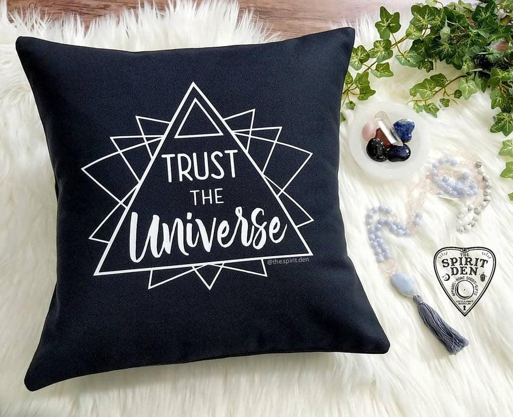 Trust The Universe Black Pillow - The Spirit Den