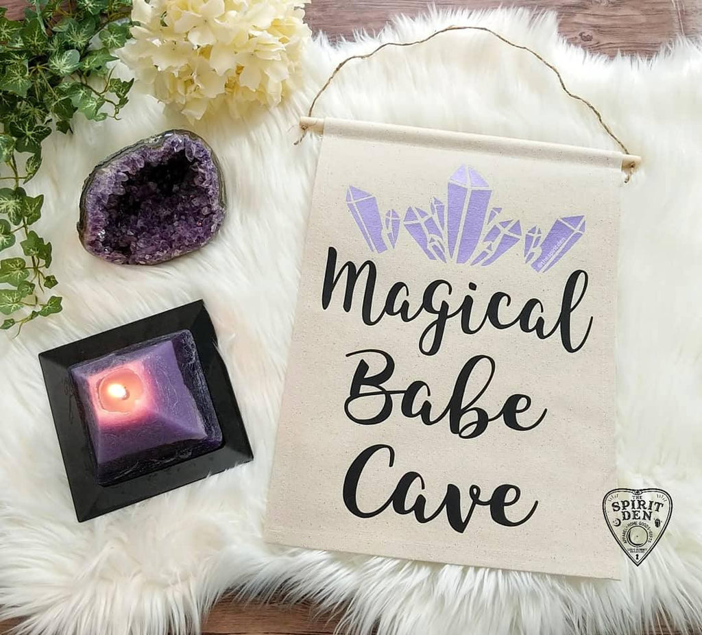 Magical Babe Cave Purple Crystals Canvas Wall Banner - The Spirit Den