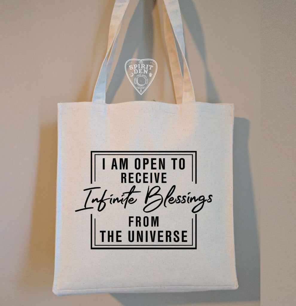 I Am Open To Receive Infinite Blessings From The Universe Cotton Canvas Market Bag