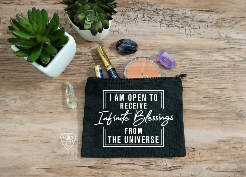 I Am Open To Receive Infinite Blessings From The Universe Black Canvas Zipper Bag