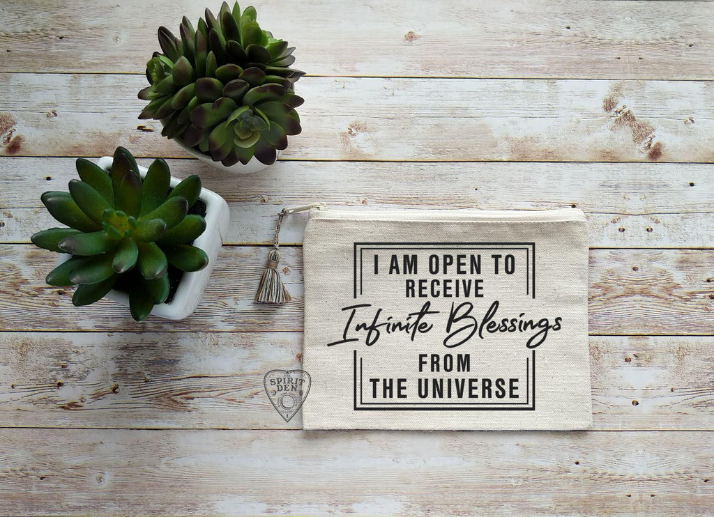 I Am Open To Receive Infinite Blessings From The Universe Canvas Zipper Bag