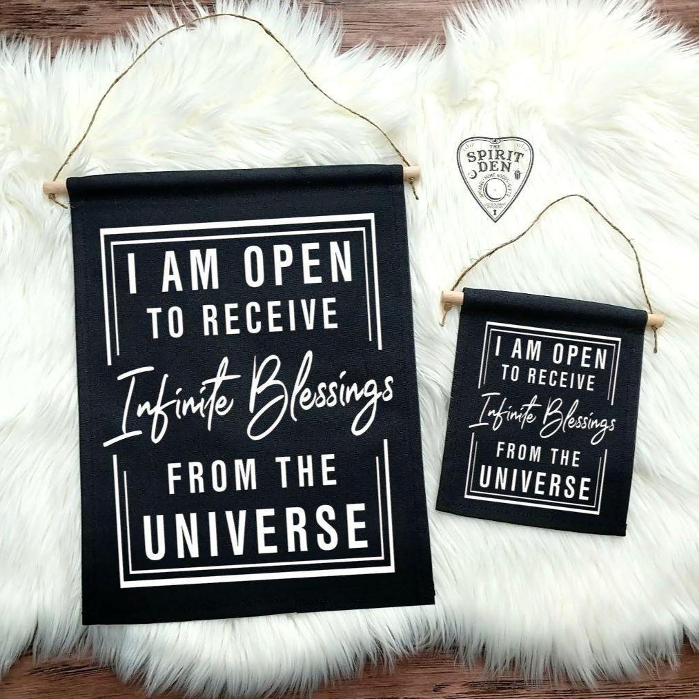 I Am Open To Receive Infinite Blessings From The Universe Black Canvas Wall Banner