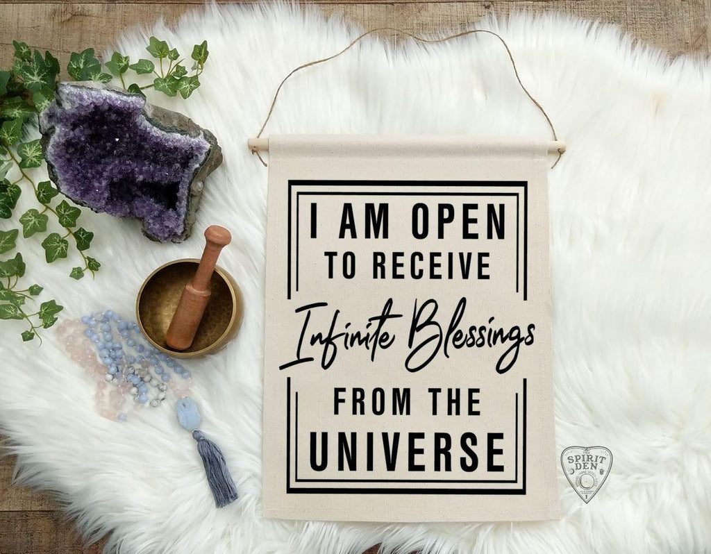 I Am Open To Receive Infinite Blessings From The Universe Cotton Canvas Wall Banner
