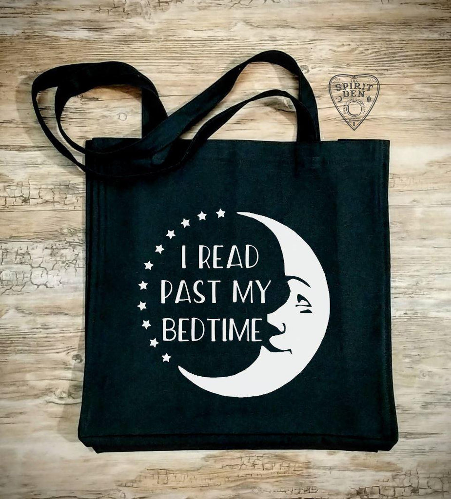 I Read Past My Bedtime Moon Black Cotton Canvas Market Bag