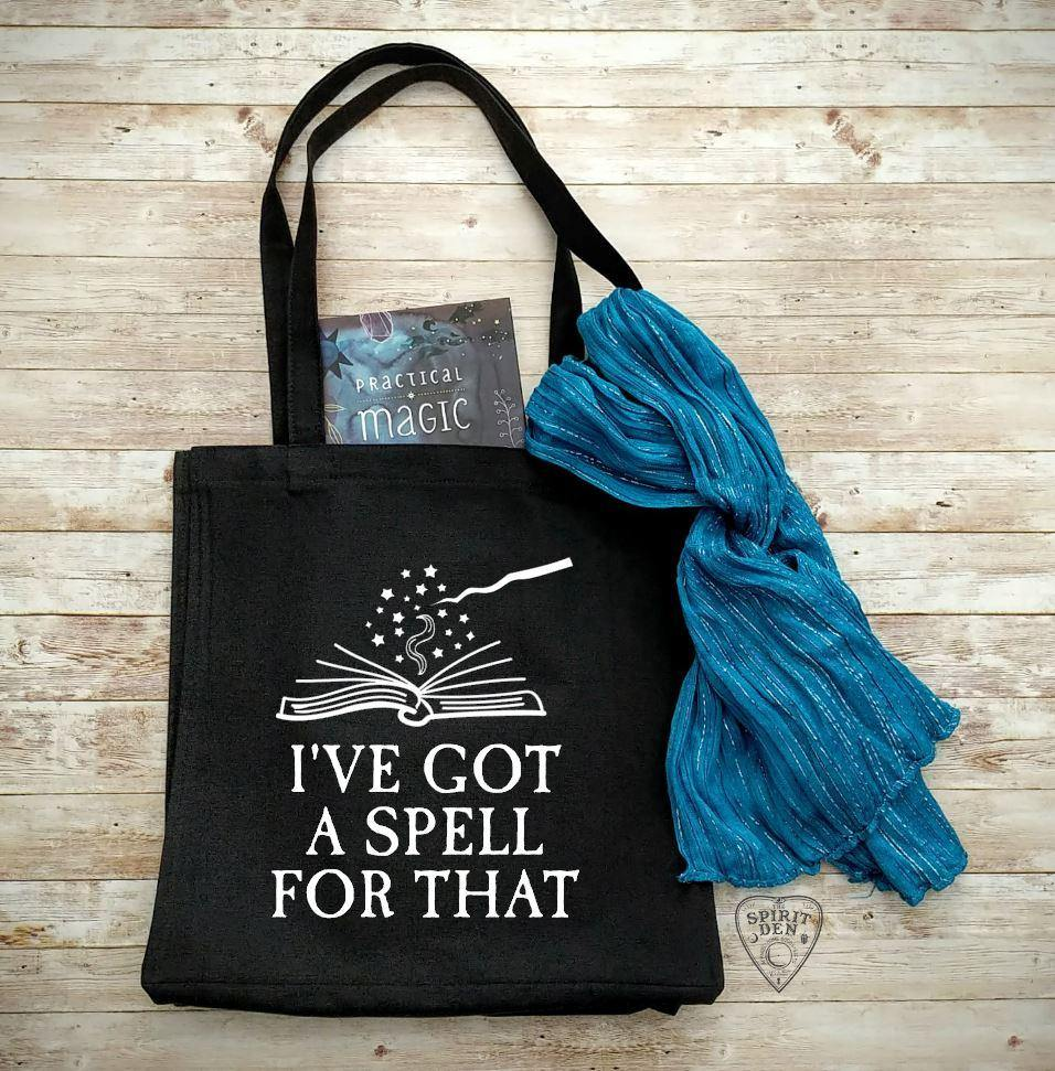 I've Got A Spell For That Black Cotton Canvas Market Tote Bag