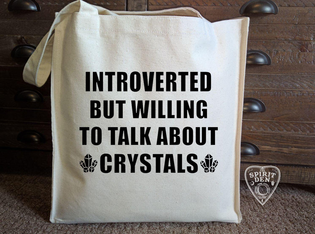 Introverted But Willing To Talk About Crystals Cotton Canvas Market Tote Bag - The Spirit Den