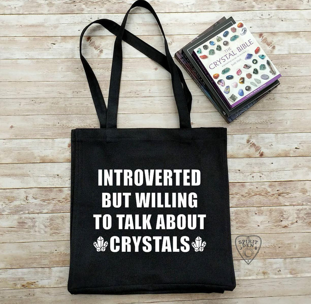 Introverted But Willing To Talk About Crystals Black Cotton Canvas Market Tote Bag